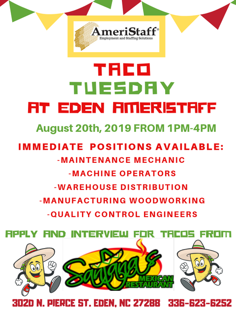 Taco Tuesday Job Fair in Eden, NC