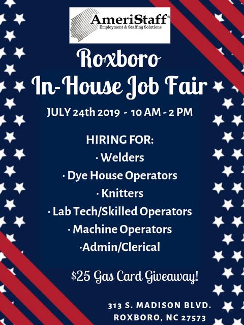 In-House Job Fair in Roxboro, NC