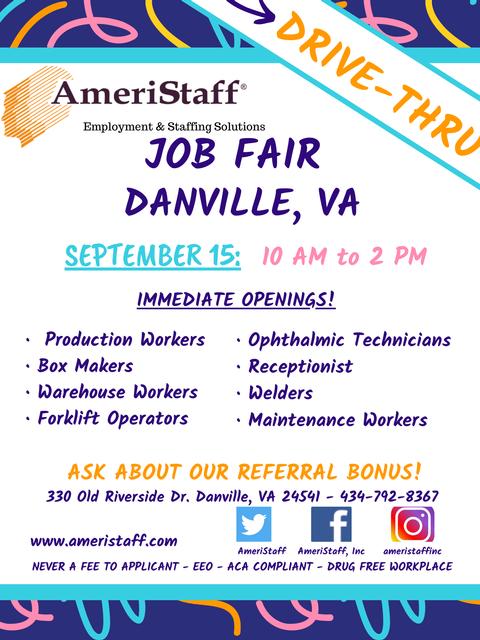 Drive-Thru Job Fair in Danville, VA