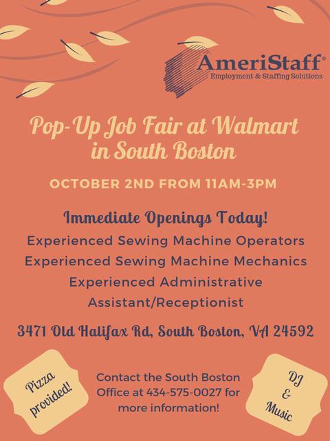 Pop-Up Job Fair at Walmart in South Boston, VA