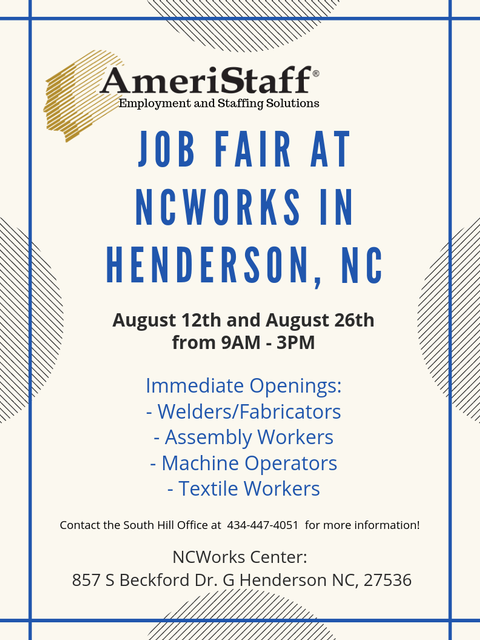 On-Site Job Fair at NC Works in Henderson, NC