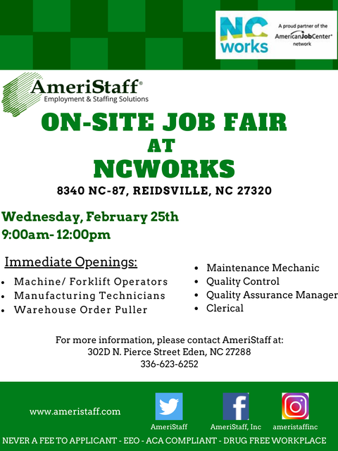 Job Fair at NCWorks in Reidsville, NC