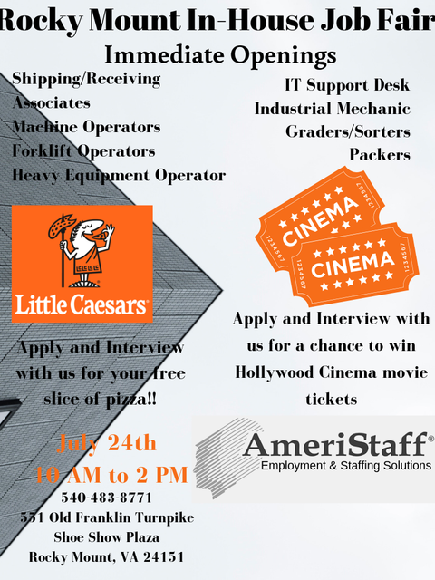 AmeriStaff in Rocky Mount,VA In House Job Fair