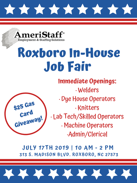In-House Job Fair in Roxboro, NC