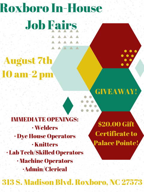 Roxboro, NC In House Job Fair
