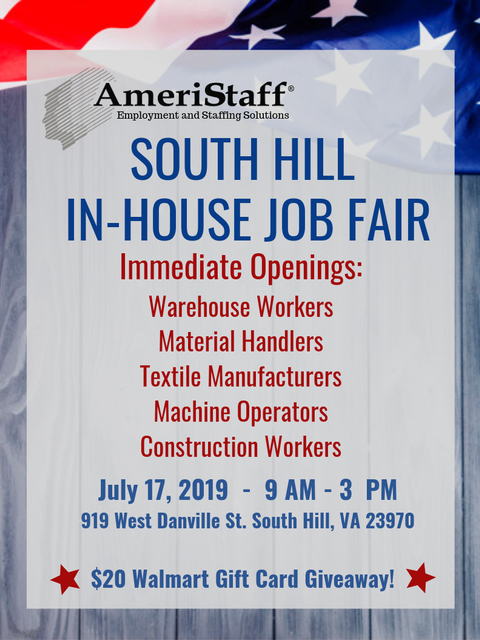 In-House Job Fair in South Hill, VA