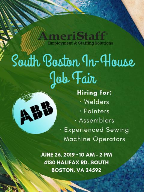 In House Job Fair in South Boston, VA