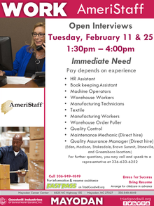 Open Interviews- Mayodan Goodwill Career Center