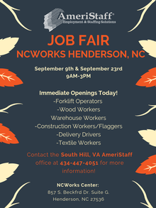 On-Site Job Fairs at NC Works in Henderson, NC