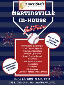 In House Job Fair Martinsville, VA