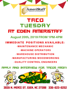 Taco Tuesday Job Fair in Eden, NC