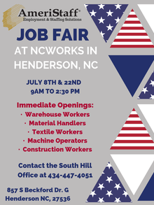 Job Fair at NCWorks in Henderson, NC