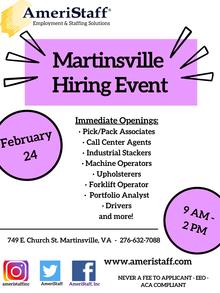 Martinsville Hiring Event