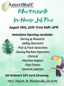 Martinsville, VA In-House Job Fair