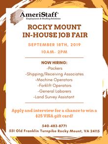 In-House Job Fair in Rocky Mount, VA