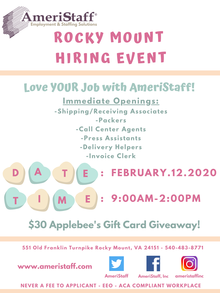 Rocky Mount Hiring Event