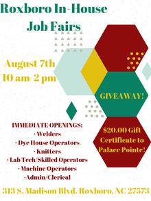 Roxboro, NC In House Job Fair