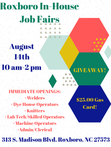 Roxboro, NC AmeriStaff In House Job Fair