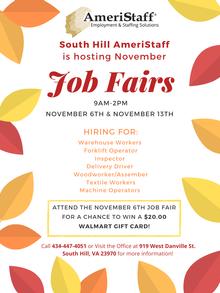 In House Job Fair in South Hill,, VA
