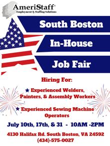 In-House Job Fair in South Boston, VA