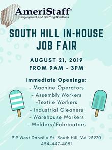 South Hill, VA In-House Job Fair