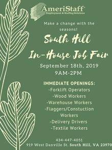 In-House Job Fair in South Hill, VA